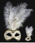 Maska wenecka - Colombina Piume Festa Brillante White