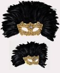 Maska wenecka - Colombina Piume Reale Macramè Gold Black