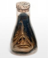 Dekoracja na Halloween Miniaturowa głowa Tsantsa w kolbie Erlenmeyera II