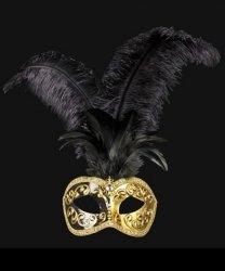 Maska wenecka - Colombina Piume Mezza Black