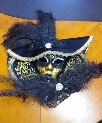 Maska wenecka - Premium Capello Black