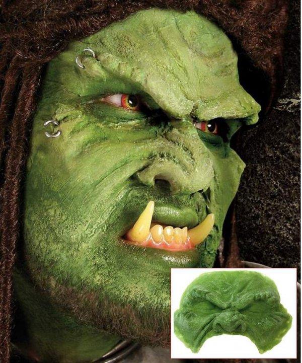 Maska Orka zielonego klejona na 1/2 twarzy