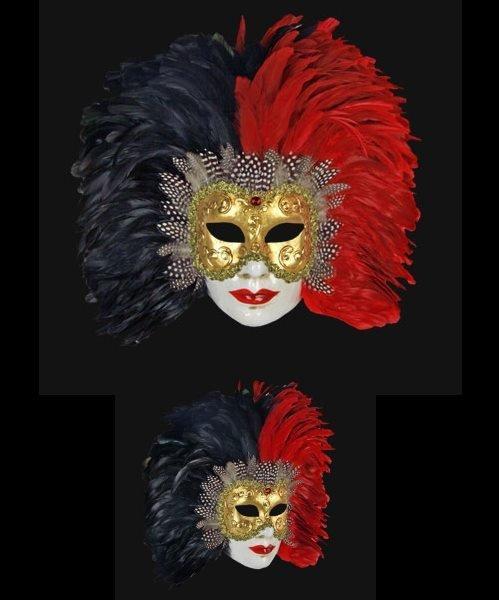 Maska wenecka - Volto Piume Sera Black/Red