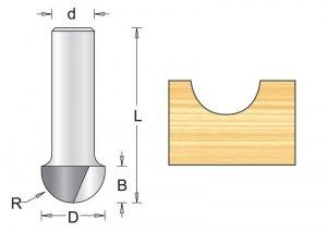 Frez wyokrąglający 9.5x38x4.8mm, chwyt 8mm