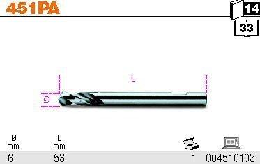 Beta 451PA Wiertło prowadzące do otwornic fi 6mm
