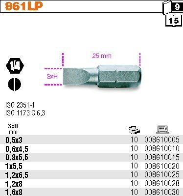 Beta 861LP/0.5X3.0 Końcówka wkrętakowa płaska 0.5x3mm