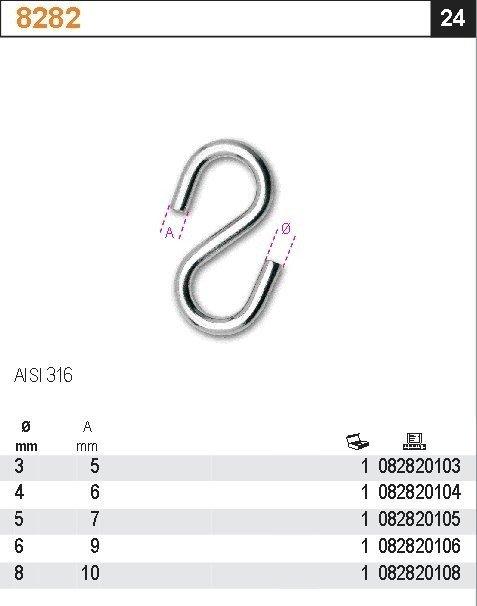 Robur 8282/6 Hak typu S 6mm AISI316