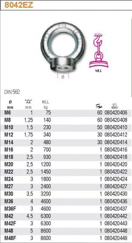 Robur 8042EZ/6 Nakrętka z uchem ocynkowana M6