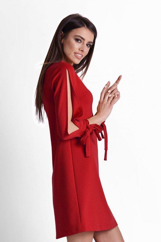 Trapezowa Sukienka Diva - czerwony