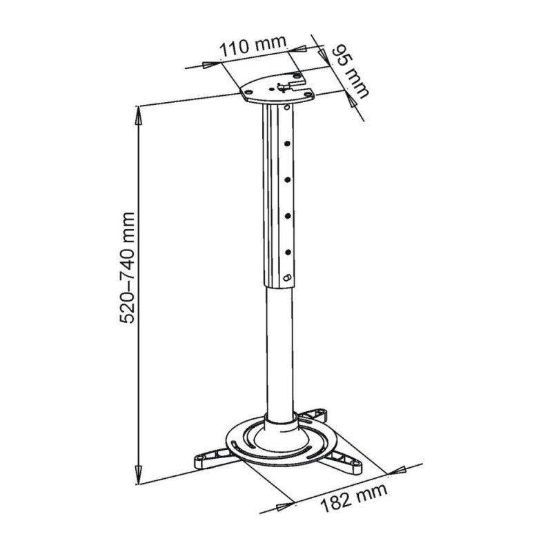 ART UCHWYT sufitowy 40-62cm DO PROJEKTORA 15kg P-102 uniwersalny pełna regulacja