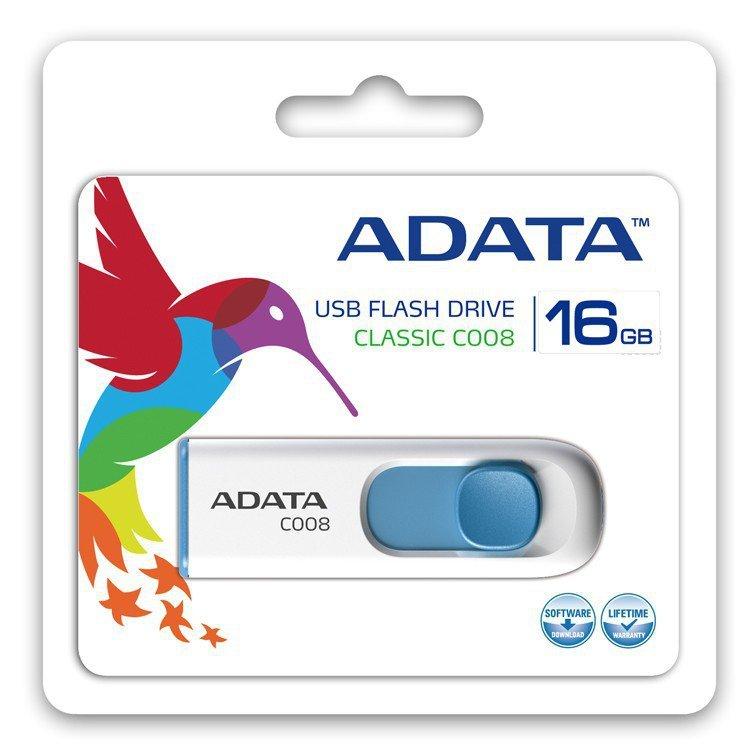 Adata Pendrive DashDrive Classic C008 16GB USB2.0 biało-niebieski
