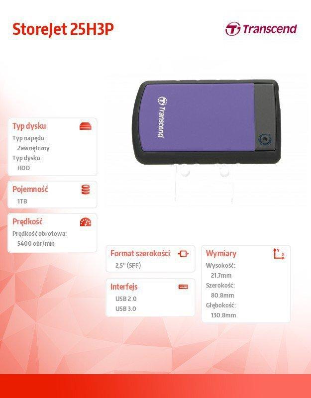 "Transcend Dysk HDD zewnętrzny 2,5"" StoreJet 25H3P 1TB USB3.0 fioletowy"