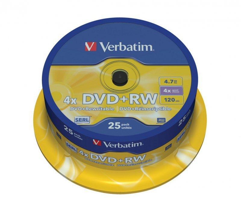 Verbatim DVD+RW 4x 4.7GB 25P CB             43489