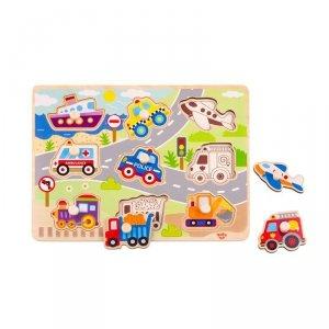 TOOKY TOY Drewniane Puzzle Transport Pojazdy z Pinezkami Do Dopasowania