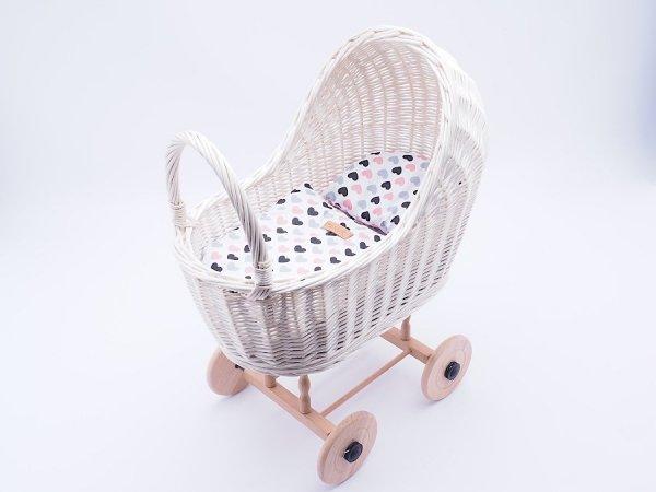 Wózek dla lalek biały (Klasyczny/Wzór) - Sklep z wiklina - zdjęcie 2