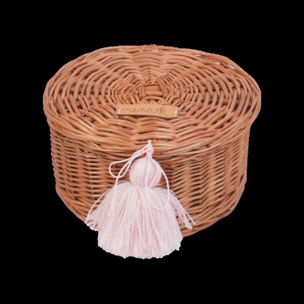 Szkatułka okrągła z pomponem (18cm) - sklep z wiklina - zdjęcie