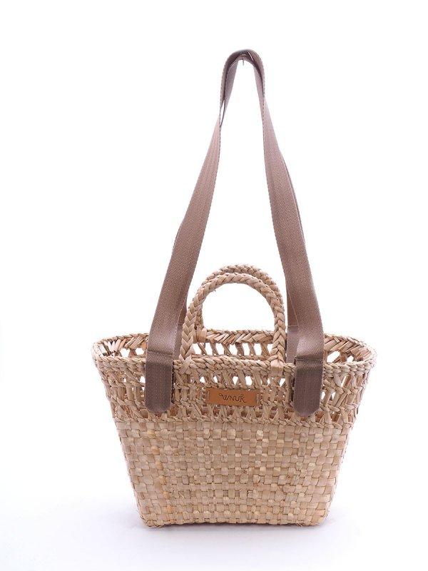 Kosz - torba plażowa (Rafia/Pas/Beż) - Sklep z wiklina - zdjęcie