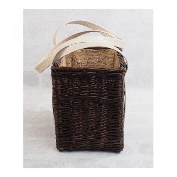 Torebka kosz na zakupy z obszyciem (wenge/krem)  - sklep z wiklina - zdjęcie 2