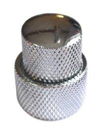 Gałka metalowa dome podwójna srebrna