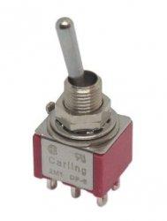 Przełącznik dźwigniowy DPDT 3poz (on-off-on) Carling mini