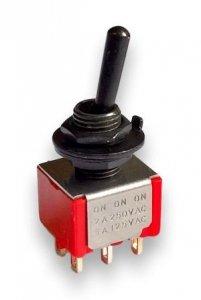 Przełącznik gitarowy dźwigniowy DPDT (on-on) Czarny HQ
