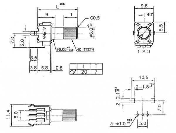 Alpha 9mm plastic - 25k/A logarytmiczny