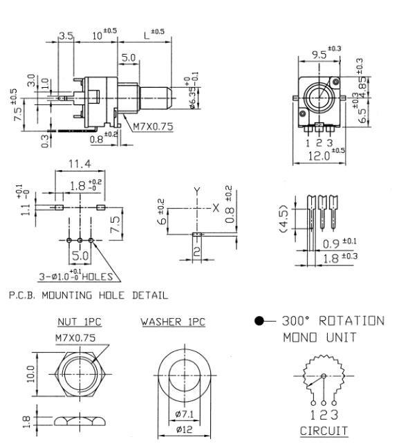 Alpha 9mm - 50k/B liniowy