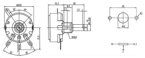 Potencjometr 100k/B liniowy 2W