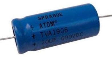 Kondensator 20uF 500V Vishay Atom, osiowy