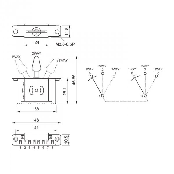 Przełącznik gitarowy 3-pozycyjny ślizgowy Alpha