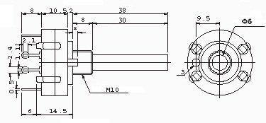 Przełącznik obrotowy 4 pozycje 3 obw. 24mm