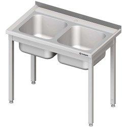 Stół stalowy bez półki ze zlewem 2-komorowym, skręcany, 1000x600x850 mm