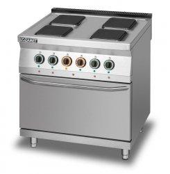 Kuchnia elektryczna 4-płytowa z piekarnikiem elektrycznym z termoobiegiem GN2/1 L900.KE4 PET Lozamet