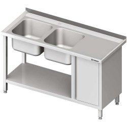 Stół ze zlew 2-kom.(L), z szafką i półką 1900x700x850 mm