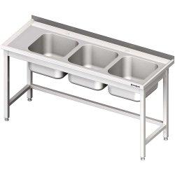 Stół ze zlewem 3-kom.(P),bez półki 1500x700x850 mm