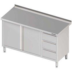 Stół przyścienny z blokiem trzech szuflad (P),drzwi skrzydłowe 1700x600x850 mm