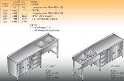 Stół zlewozmywakowy 2-zbiornikowy lo 256/s3 - 2600x700