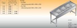Stół zlewozmywakowy 3-zbiornikowy lo 261 - 1600x600