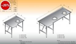 Stół sortowniczy kątowy prawy lo 308 - 2200x800 Lozamet