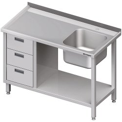 Stół ze zlewem 1-kom.(P), z blokiem trzech szuflad i półką 1600x700x850 mm