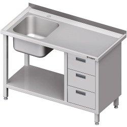 Stół ze zlewem 1-kom.(L), z blokiem trzech szuflad i półką 1900x700x850 mm