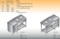 Stół zlewozmywakowy 2-zbiornikowy lo 240/s3 - 1700x700