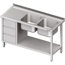 Stół ze zlewem 2-kom.(P), z blokiem trzech szuflad i półką 1800x700x850 mm