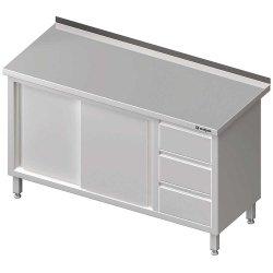 Stół przyścienny z blokiem trzech szuflad (P),drzwi suwane 1500x700x850 mm