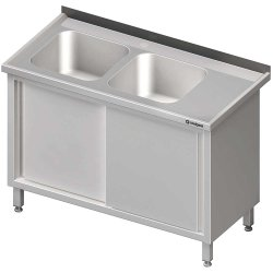 Stół ze zlewem 2-kom.(L),drzwi suwane 1600x700x850 mm