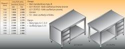 Stół roboczy z blokiem szuflad i półką lo 135/s3 - 1800x700