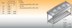 Stół zlewozmywakowy 3-zbiornikowy lo 263 - 1900x700