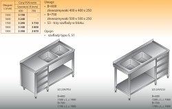 Stół zlewozmywakowy 2-zbiornikowy lo 239/s3 - 1900x600