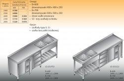 Stół zlewozmywakowy 2-zbiornikowy lo 255/s3 - 2700x700