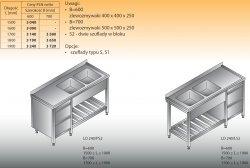 Stół zlewozmywakowy 2-zbiornikowy lo 240/s2 - 1800x700